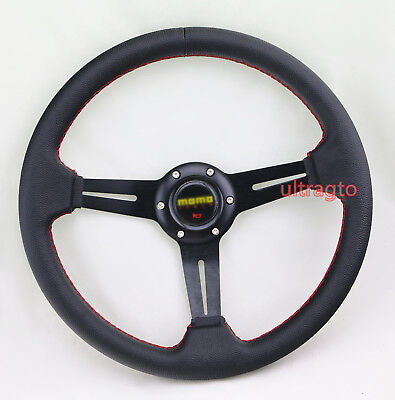 Black 6 Bolt 350MM Racing Leather Racing Steering Wheel Red Stitch & Horn