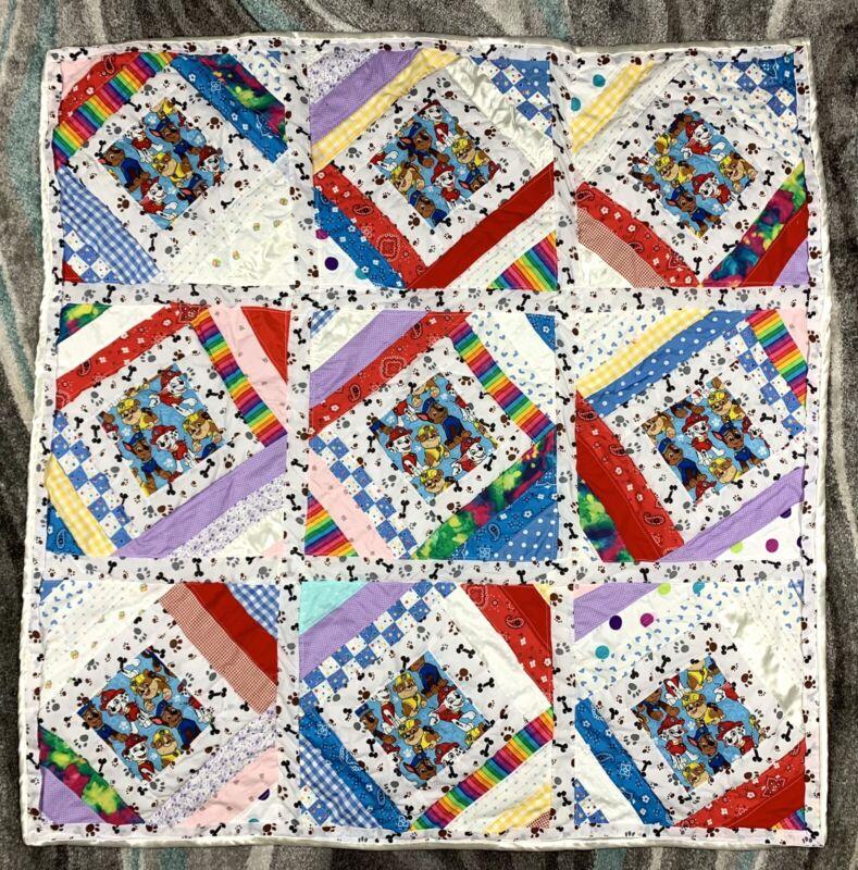 "Handmade   PAW PATROL Patchwork BABY QUILT  Cotton + Polyester Satin   45"" x 41"""