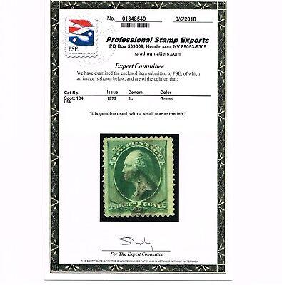 GENUINE SCOTT #184 F-VF USED ABNC PRINTING PSE CERT 1879 GREEN - ESTATE SALE