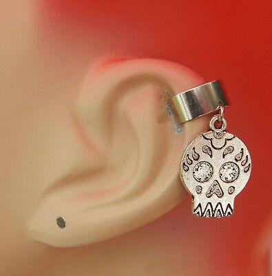 Ear Cuff Sugar Skull Silver Drop Dangle Charm Wrap Handmade Accessories Fashion