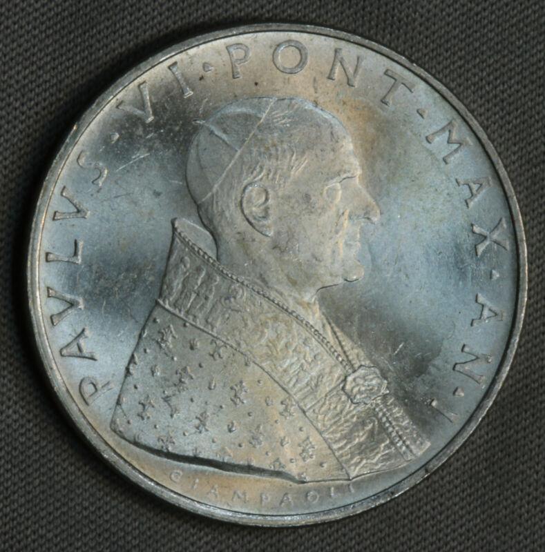 1963 Vatican City Italy 500 Lire Lira Silver BU UNC MS GEM SK168