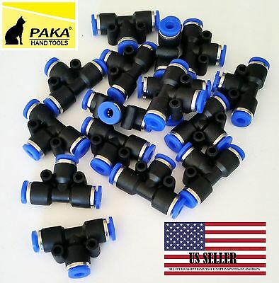 10pcs Pneumatic Tee Union Connector Tube Od 516 8mm One Touch Push In Air Fitt