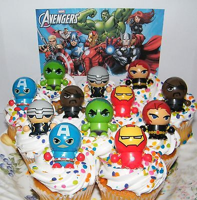 Marvel Avengers Cake Toppers Set of 12 Figures w/ Bouncy Ball Switchable Heads (Marvel Cake Toppers)