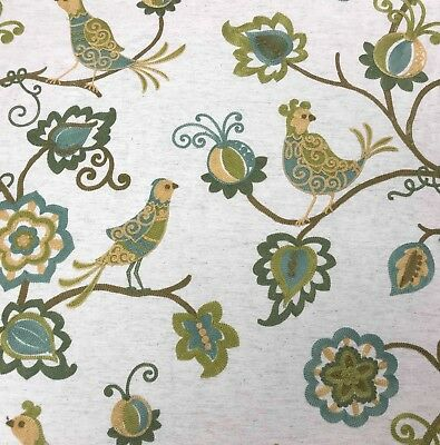 CREWEL EMBROIDERED LINEN BY THE YARD ()