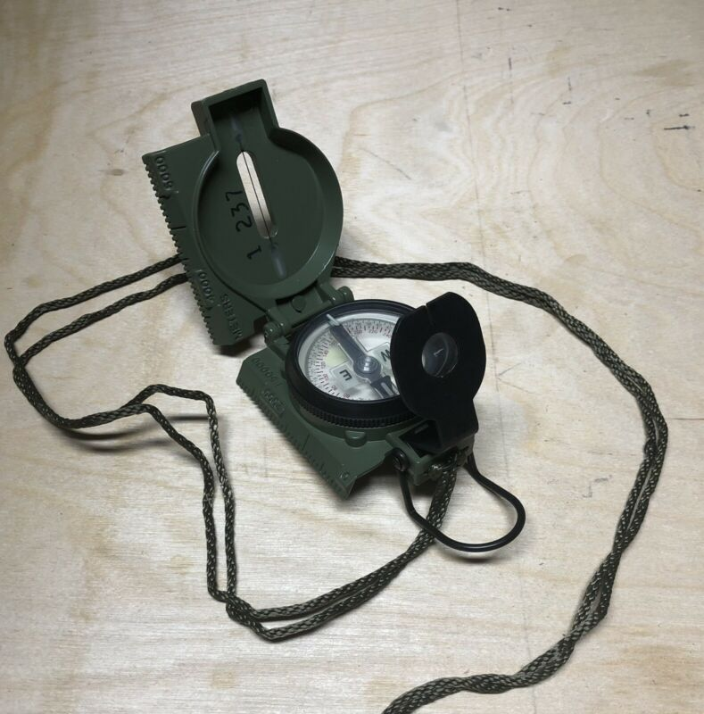 Cammenga Phosphorous Military Compass + Carrying Belt Clip, Bag And Lanyard