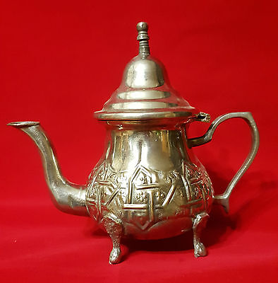 Vintage Authentic Moroccan Copper Alpaca Silver Plated Teapot Kettle Fez stamped