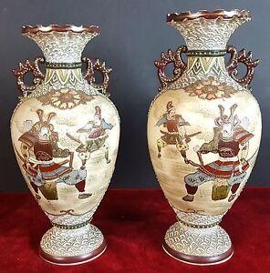 Par-De-Jarrones-De-Ceramica-decorada-con-Samurai-Satsuma-Japon-20TH-Century