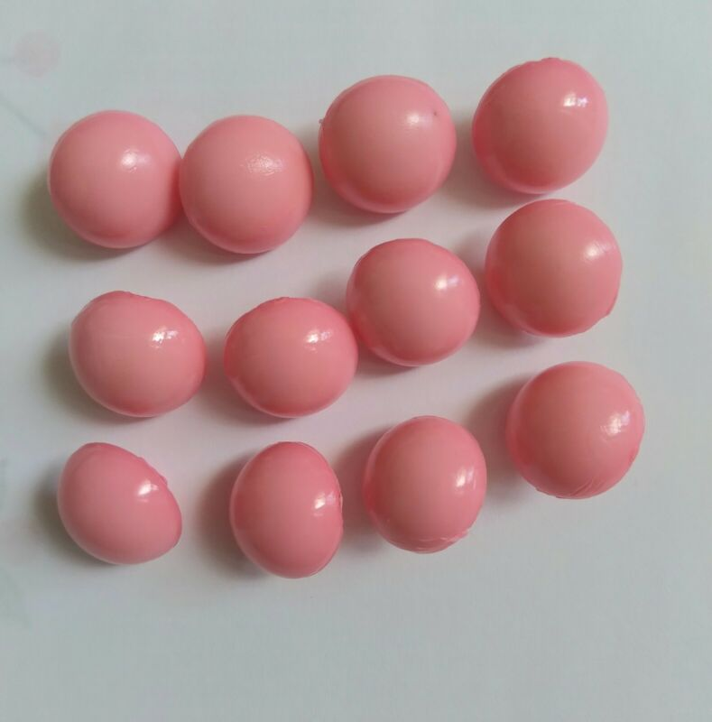 Vintage 60s buttons Pink domed shank 1/2 inch  4/8 inch set of 12