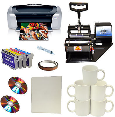 Mug Cup Heat Press Printer Sublimation Refil Ink Transfer Paper Start-up Bundle