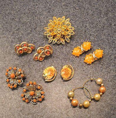 Vintage & Antique  Jewelry - Flower  Brooch & Earrings  -  Treasures & More