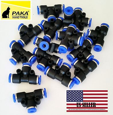 10x Pneumatic Tee Union Connector Tube Od 18 One Touch Push In Air Fitting