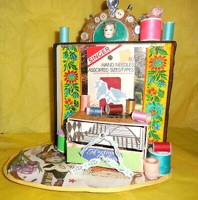 Sew What's New Altar Shrine Sewing Homage Collage Art Mixed Media OOAK
