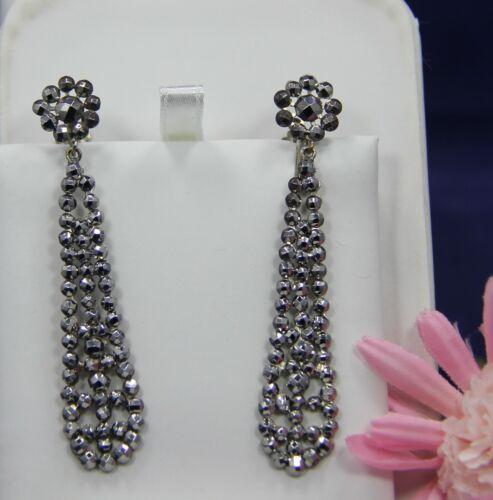 """Beautiful Antique Cut Steel Earrings With Screw Back. 2 1/2"""" Long"""
