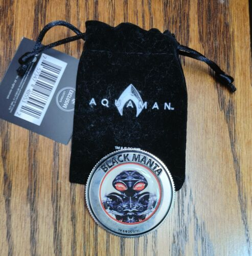 Loot Crate AQUAMAN Double Sided Coin & Velvet Bag Black Manta NEW with TAGS