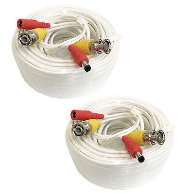 (2) 25ft Siamese CCTV Security Camera Video & Power BNC RCA Cable with Connector