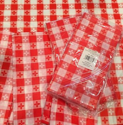 SIX (6) PLASTIC RED & WHITE CHECKERED TABLECLOTH PICNIC TABLE COVERS - Checkered Table Covers