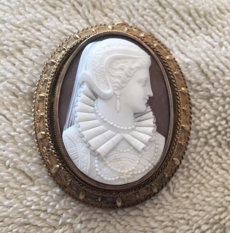 SUPERB Museum Quality Cameo Antique RARE Carved Shell 14k Brooch Victorian