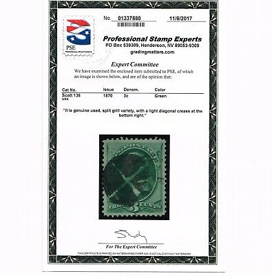 GENUINE SCOTT #136 VF-XF USED PSE CERT CLEAR SPLIT H GRILL 3¢ GREEN NBNC ISSUE