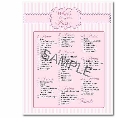 Pink Baby Girl Set of 5 Printable Shower Games Baby Scramble, Purse Game