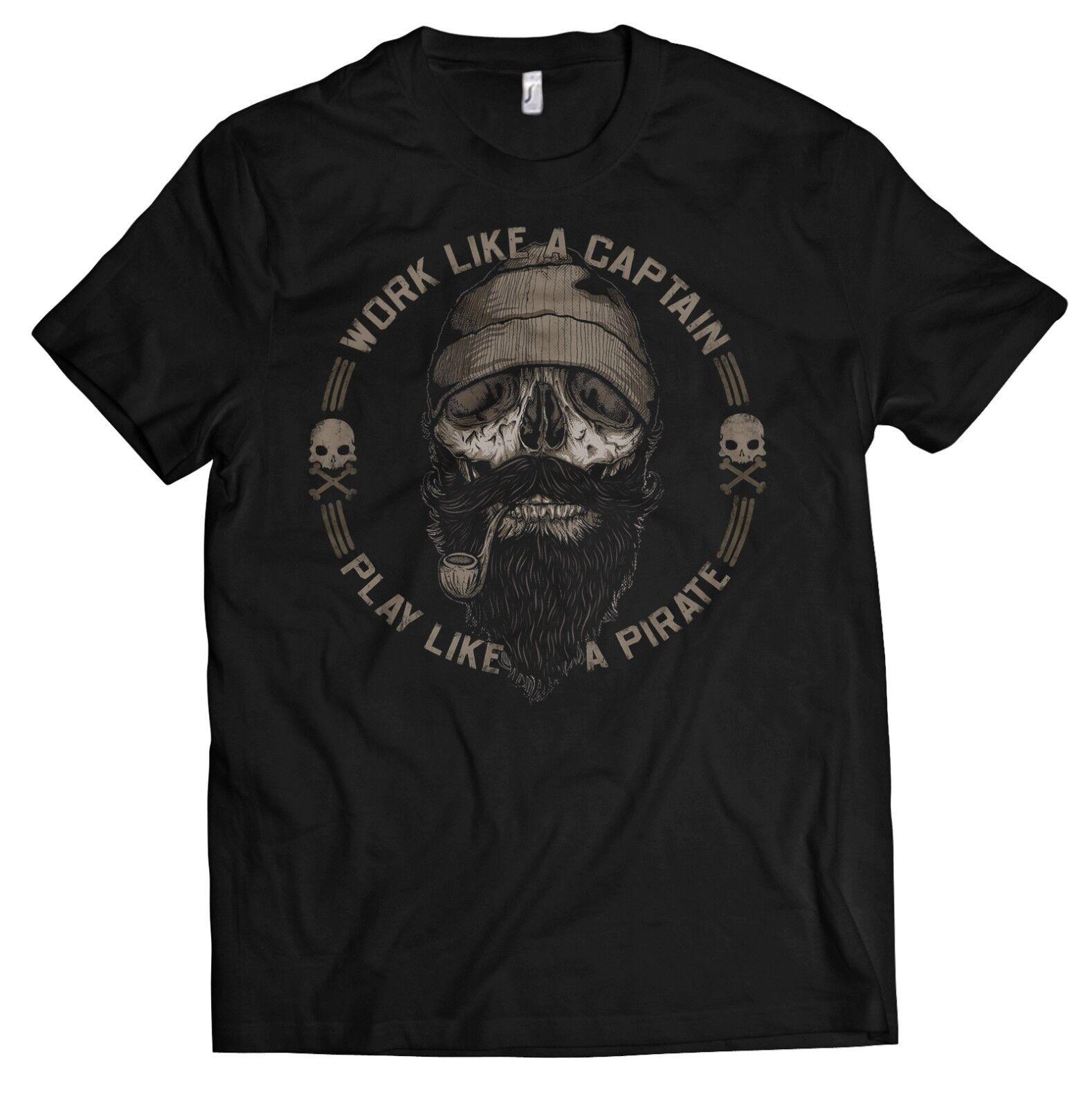 Sailor Beard T-Shirt Herren WORK LIKE A CAPTAIN PLAY . PIRATE Kapitän Bart Shirt