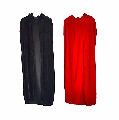 CHEAPEST Long Velvet Cape Hooded Cosplay Costume Witch Fancy Party Black & Red