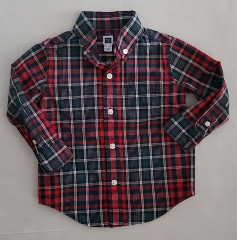 Janie And Jack Baby Toddler Boys 12-18m Shirt Dress Plaid Button Down Holiday