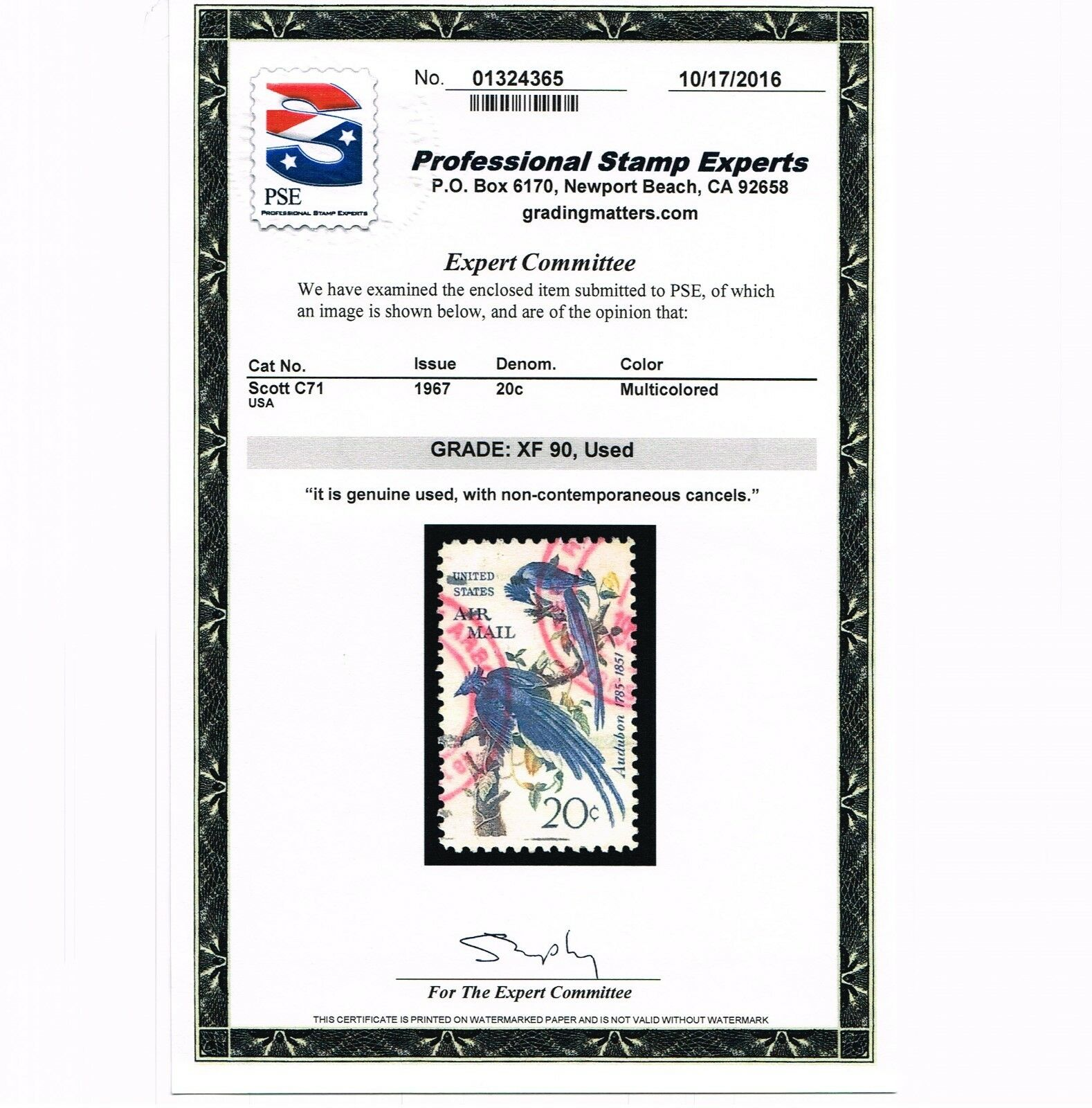 GENUINE SCOTT #C71 AUDUBON AIR MAIL XF USED PSE GRADED CERT - ESTATE SALE