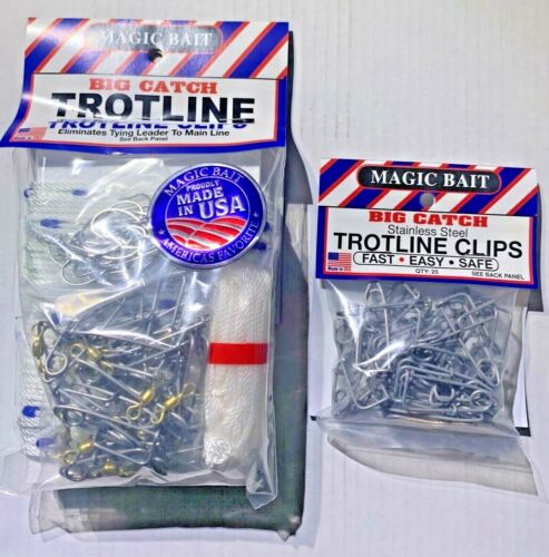 Magic Bait Big Catch 150 ft. Trotline w/ 25 Stainless Steel Clips CHOOSE