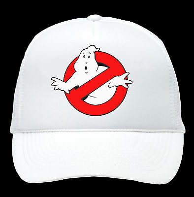 GHOSTBUSTERS HAT Halloween Costume WHITE Trucker Cap Adjustable Funny 80s Group