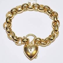 9k Yellow Gold Belcher Bracelet Heart Padlock 48.3gm 20cm #664275 Ipswich Ipswich City Preview