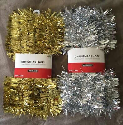 ASHLAND CHRISTMAS TINSEL GARLAND Gold/sliver 25ft long new Decoration  Lot of - Christmas Garland Decorations
