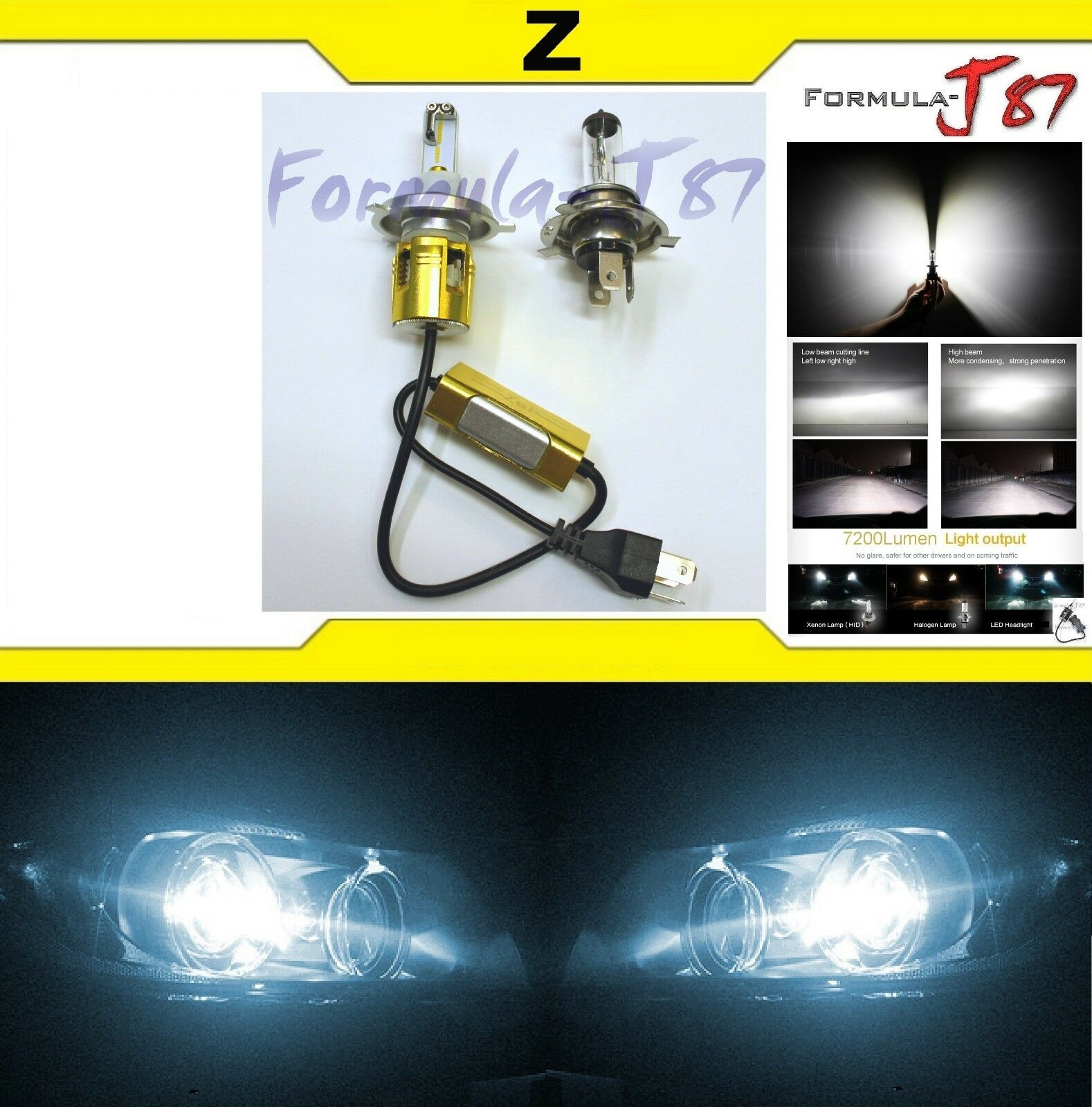 LED Kit Z 48W HS1 6000K White One Bulb Head Light Replacement ATV UTV Lamp