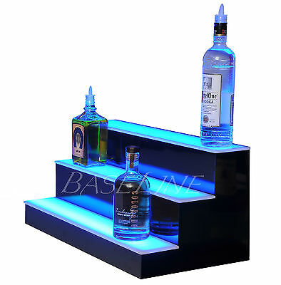 25 Led Lighted Bar Shelf Three Step Liquor Bottle Glorifier Back Bar Shelving