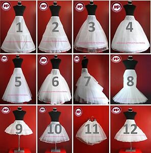 WHITE-BRIDAL-WEDDING-DRESS-PROM-PETTICOAT-UNDERSKIRT-CRINOLINE-S-XL