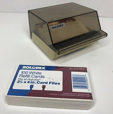 Rolodex Petite Covered Card File Tan W A-z Dividers 100 Blank Refill Cards