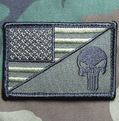 PUNISHER SKULL USA AMERICAN FLAG ARMY MORALE TACTICAL FOREST VELCRO PATCH