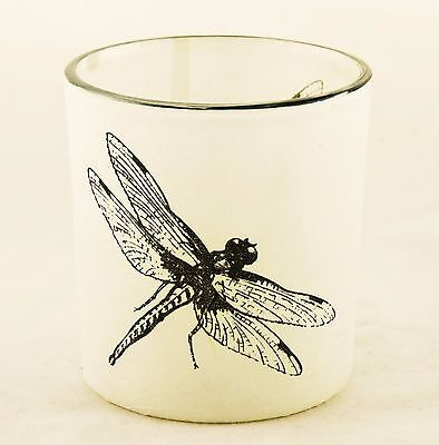 Dragonfly Autumn Nature Glass Votive Candle Holder Yankee Candle NEW paper wrap