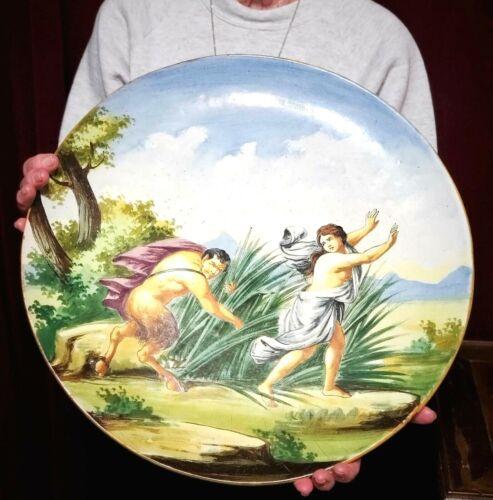 Antique Urbino Majolica Istoriato Charger Plate Abduction of Hippodameia 19th c.