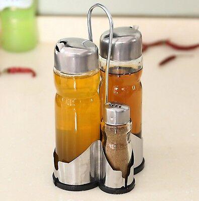 4Tlg Menage Öl Essig Spender Set Flasche Salz Pfeffer Streuer Gewürz Ständer  ()