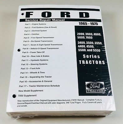 Ford 2000 3000 4000 5000 7000 3400-5550 Tractor Service Shop Manual 1965-1975