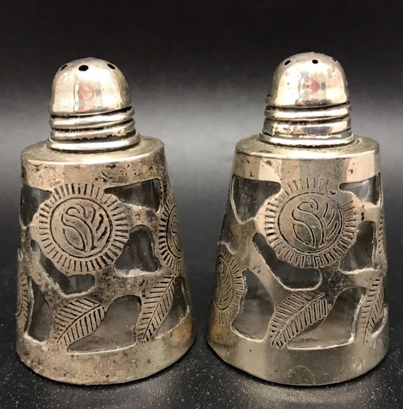 Sterling Silver 925 & Glass Salt Pepper Shakers; Mexico (RF613)
