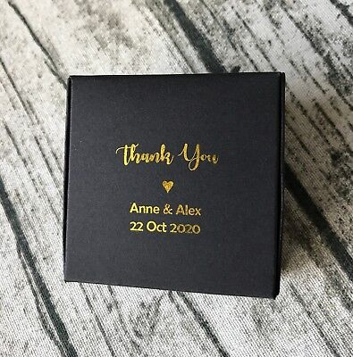 50x Gold Foil Black Wedding Thank You Gift Boxes Personalised Anniversary Favors