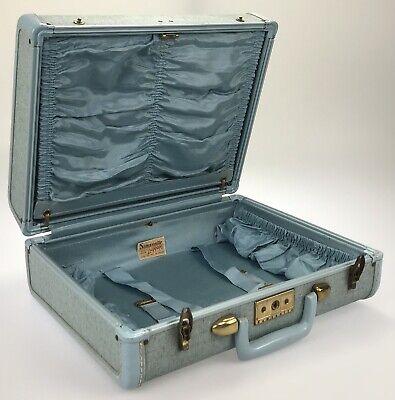 "Vintage 15"" Samsonite Robin Egg Blue Tweed Train Case Streamlite 4216 Suitcase"