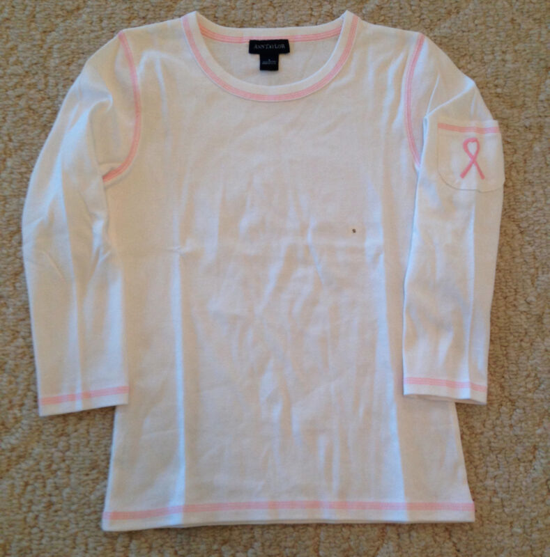 Ann Taylor Breast Cancer Pink Ribbon 3/4 Sleeve Top T-Shirt Tee Size S New NWOT!