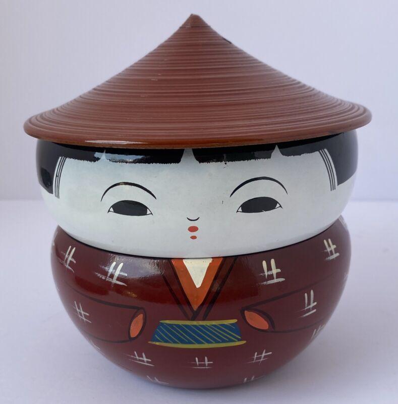 Vintage Asian Japanese Kokeshi Doll Lacquer Ware Trinket Bento Bowls Box