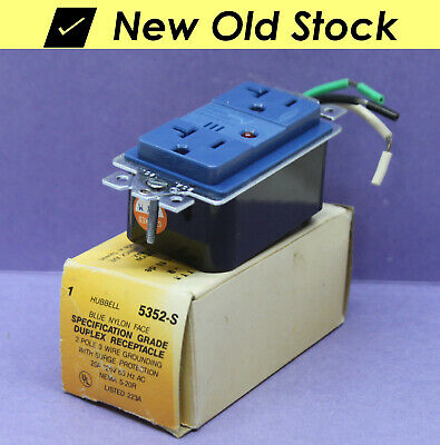 Hubbell Surge Protection Receptacle Outlet W Ground 5252-s Blue 20a 5-20r