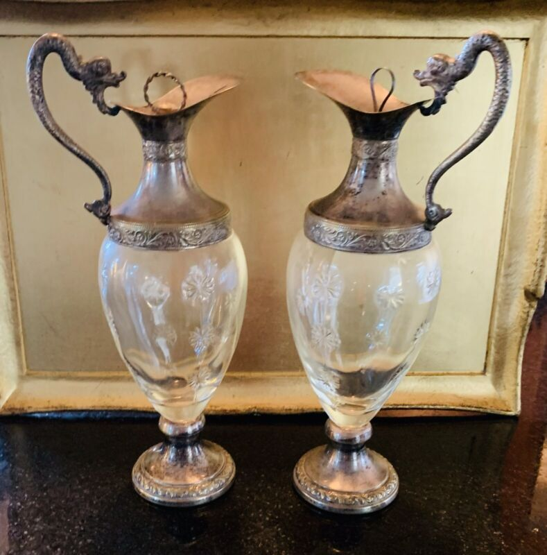 Rear Vintage Italian Decanter Claret Jugs Silver Plated Base & Dragon Handle