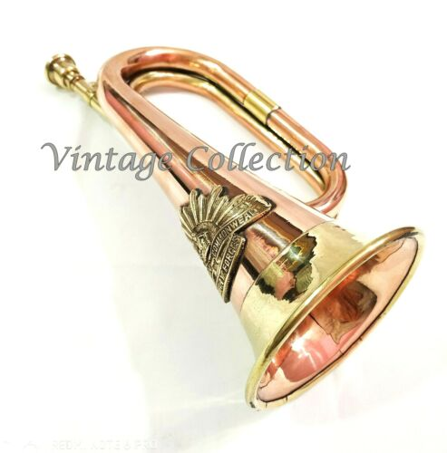 "Brass & Copper 12"" Bugle Australian Military Forces Commonwealth with Rising Sun"