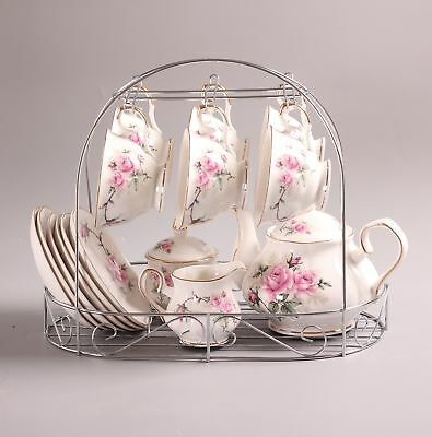 Bone China Gold Pink Camellia Printed Ceramic Porcelain Tea Cup Tea Set With ...