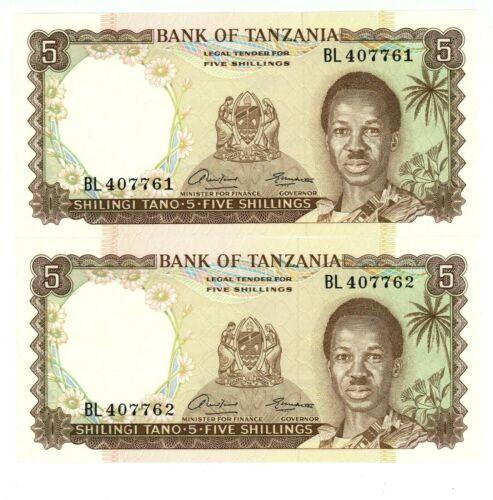 Tanzania ... P-1 ... 5 Shillings ... ND(1966) ... Choice *UNC* Consecutive notes